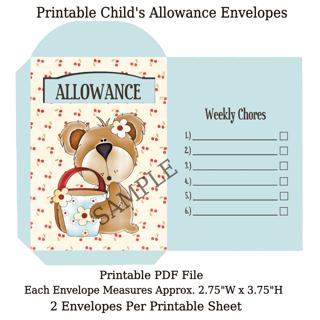 Printable Child's Allowance Coin Envelopes