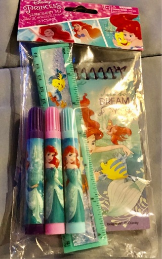 "5 BNIP 5 Piece ""Disney's Princesses: Stationery Set! Ruler/Markers/Note pad"