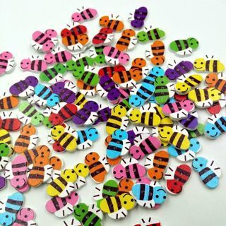 [GIN FOR FREE SHIPPING] 50PCs Mixed Bee Sewing Buttons Wooden
