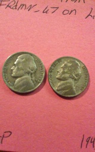 Two Silver War Nickels. 1943-P and 1943-S. 35% silver. #101