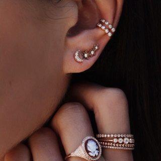 4 Pcs/set Women Bohemian Retro Crystal Xingyue Geometric Earring Set Wedding Ear Clip Gift