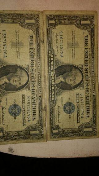 2 1957 One Dollar Bill **Free Shipping**