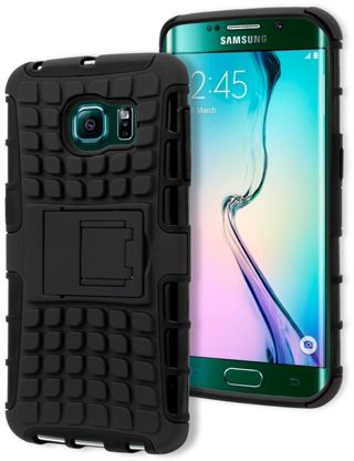 1 NEW Samsung Galaxy S6 Edge Durable Black Silicone Black Tire Track Case FREE SHIPPING