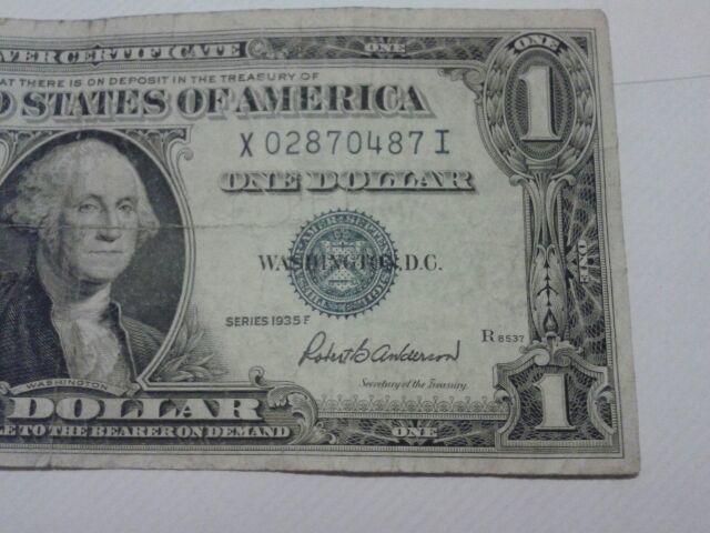Free 1935 F Silver Certificate Dollar Bill Error Miss Cut