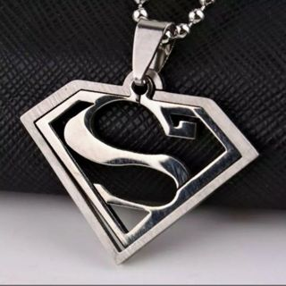 """SUPERMAN NECKLACE ☆ """"18 BALL CHAIN NECKLACE ☆ TITANIUM STEEL PENNANT ☆FREE $HIPPING"""