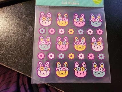 Shiney Bunny & Flower Stickers