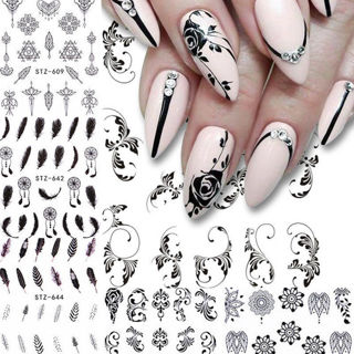 6 Sheets Nail Water Decals Flower Feather Geometry Nail Art Tranfer Stickers DIY
