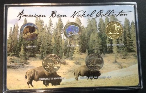 Free 2005 AMERICAN BISON NICKEL COLLECTION ENHANCED 5-COIN