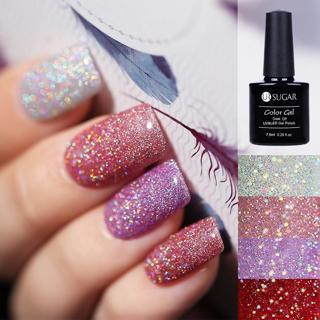 UR SUGAR Holographic Glitter Platinum UV Nail Gel Polish Rainbow Colorful Super Shine Shimmer Mani
