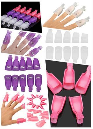 10PCS Plastic Nail Soak Off UV Gel Art Polish Remover Wrap Gelish Clip Cap IL