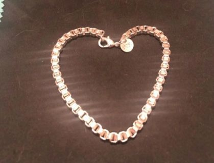 STAMPED SILVER PLATED Women's CUBE LINK BRACLET AND CRYSTAL TEARDROP EARRINGS