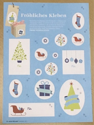Large Christmas X-mas Sticker Sheet from Germany # 3