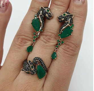 Green Leopard Head Ring Round Enamel Necklace Ring Jewelry Set Animal Green Women Set