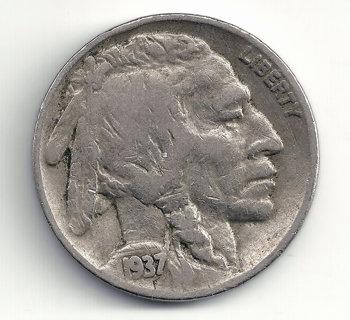 1937 Buffalo Indian Head Nickel U.S. 5 Cent Coin