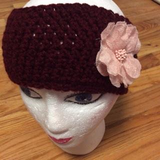 Hand Crochet Burgundy Headband or Ear Warmer  .