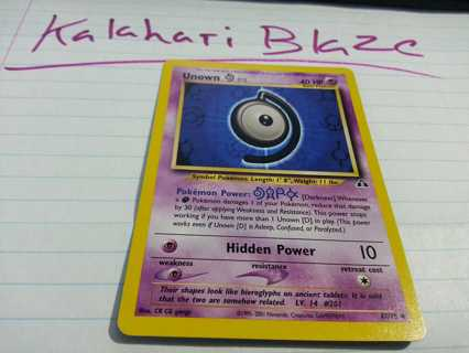 Pokemon Card Unown (D) Neo Discovery