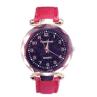Red ladies leather watch