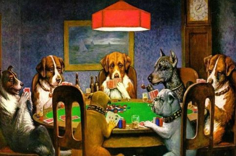 """Dogs playing Poker mated Art print/blank greeting card free ship """"A FRIEND IN NEED"""" - C.M. COOLIDGE"""