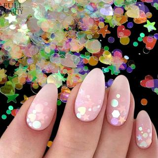 Full Beauty Holographic AB Nail Glitter Flakes Mirror Iridescent Nail Sequins Star Round Chrome Po