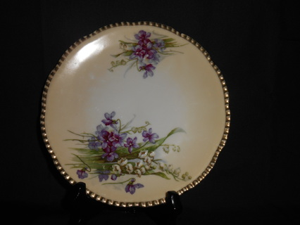 ANTIQUE PRUSSIA HAND PAINTED FLOWER PLATE