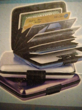Scan safe credit card wallet blue & black stripes