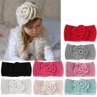 Fashion soft Baby winter Keep Warm Flower Knitting wool Infant Kids Girl Hairband Phtography Props