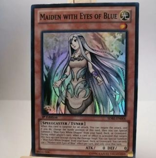 SUPER RARE HOLO YUGIOH CARD MAIDEN WITH EYES OF BLUE