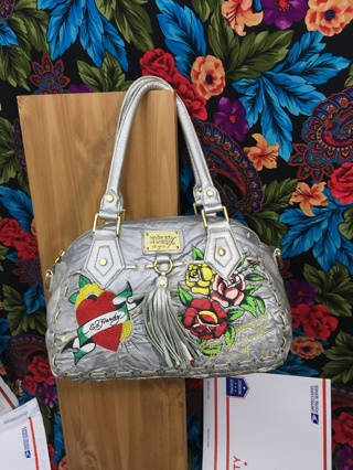ed hardy purse silver bag