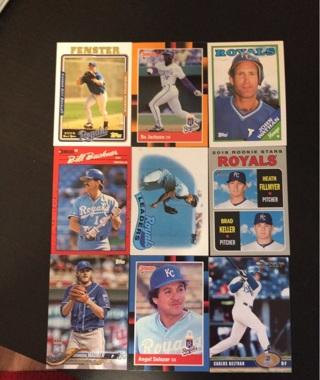 9 Kansas City Royals baseball cards