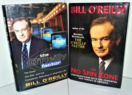 "2 2000-2001 hardcover books by Bill O'Reilly: ""The No Spin Zone"" & ""The O'Reilly Factor"""