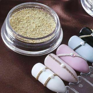 Nail Art Mini Beads Balls Rose Gold Silver Tips Metal 3D DIY Decoration Usable