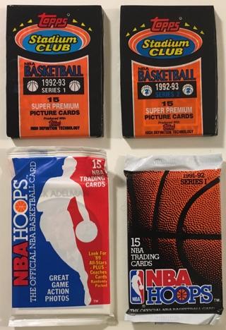 4 New Sealed Basketball Card Packs: 1992-93 Stadium Club Series 1 & 2 (Shaq RC?), 1989/1991-92 Hoops
