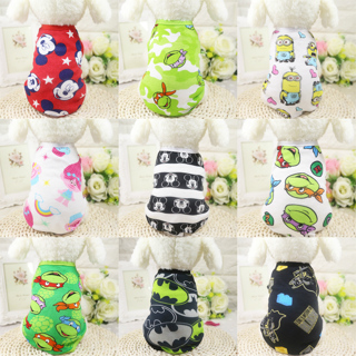 Fashion Pet Dog Clothes Soft Summer Cotton Shirts T shirt Cat Vests Cartoon Costume Clothing