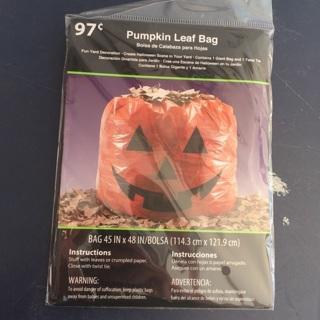 "Halloween Pumpkin Leaf Bag 45""x48"" *** New ***"