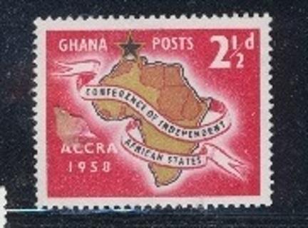 Ghana:  1958, Map of Africa with Script Tape, MNH-OG, SC # GH-21 - GHA-2200d