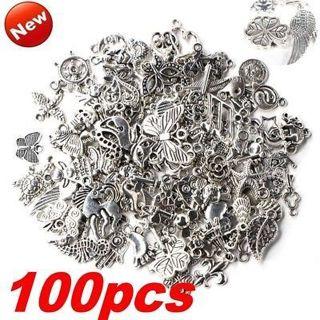 100pcs/Bag Bulk Lots Tibetan Silver Mix Charm Pendants Jewelry DIY