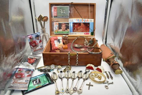 Vintage Wood Box of Treasures & Goodies