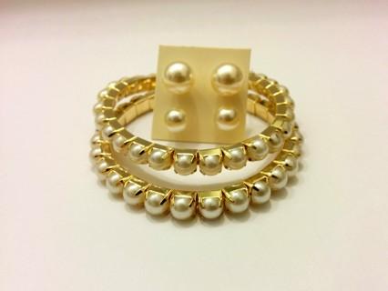 Fashion Jewelry - Pearl Bracelets & Earrings Set