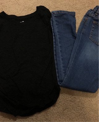 Children's place tcp girls super skinny jeans size 8 black long sleeve shirt