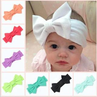 2018 New Cotton Elastic Newborn Baby Girls Solid Color Headband Bowknot Hair Band Children Infant