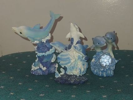 Antique Resin Dolphin Collectible Figurine Set of Three.