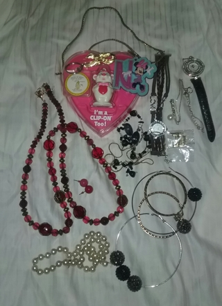 Mixed Lot of Jewelry + Necklaces Keychains Earrings  Watches Pins New and Used