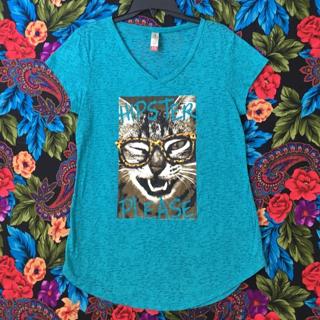 CUTE CAT SHIRT VNECK T-SHIRT CAT HIPSTER KITTY