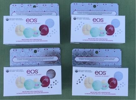 4 BOXES! XMAS! 12 NEW EOS SMOOTH SPHERE LIP BALM 3-PK : SWEET MINT, VANILLA BEAN & POMEGRANATE RASP