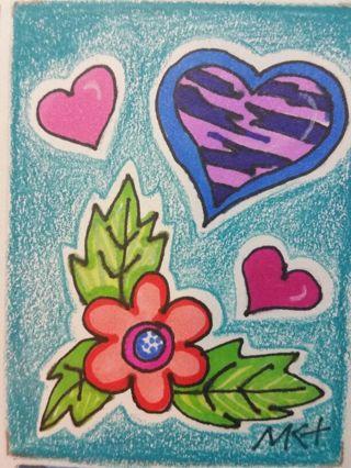 Wild Card- Valentine - #203- My Original MK Drawing ATC / ACEO print enhanced with gel pens