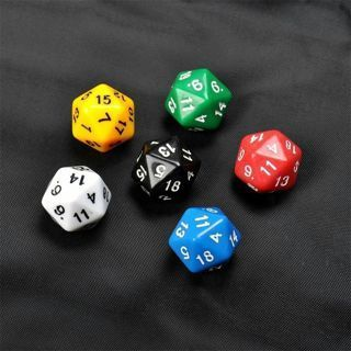 6PCs/Set D20 Gaming Dice Twenty Sided Die RPG D&D Six Opaque Colors
