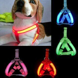 Nylon Pet Dog harness Cat Safety LED Flashing Light Harness LED Leash Rope Belt Collar