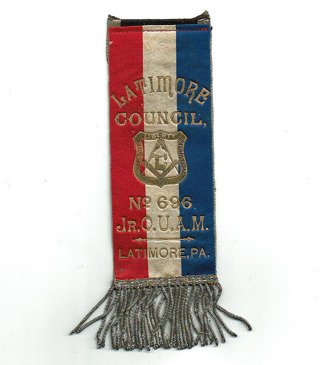 Old Antique MASONIC Embroidered Ribbon-Latimore Pa. Council No. 696 Jr. O.U.A.M.