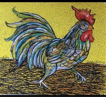 """RUNNING ROOSTER - 5 x 7"""" art card by artist Nina Struthers - GIN ONLY"""