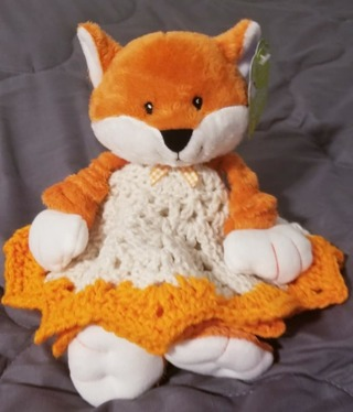 "Baby Security Cuddle Blankie 9"" Fox & a 12"" diam Crochet Blanket"